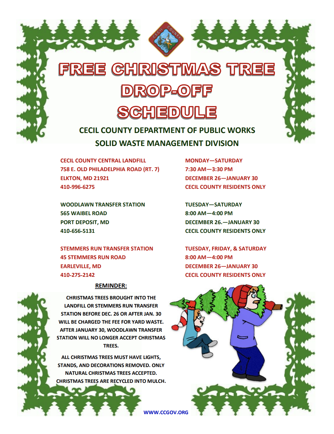 Clarksburg Trash Pickup On Christmas Eve 2021 Maryland Christmas Tree Recycling Information By County Md Realtor